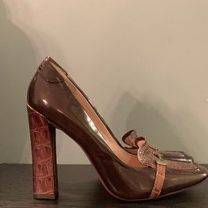 Brown Snake Patent & Luxe Square Toe Loafer Pumps